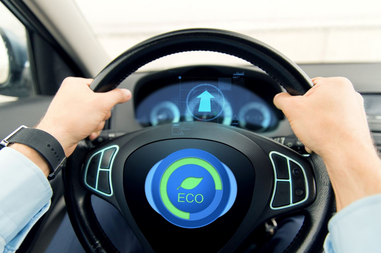 Eco sign on a steering wheel.-1